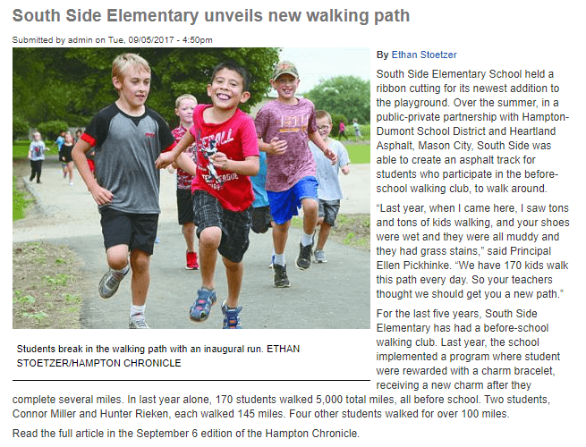 southside elementary walking path